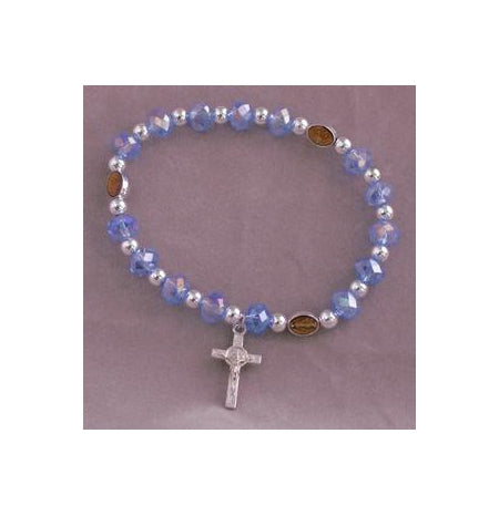 Miraculous Medal In Blue Elastic Bracelet With Cross