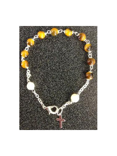 Tigers Eye Bracelet With Cross Silver Plated 7-inch