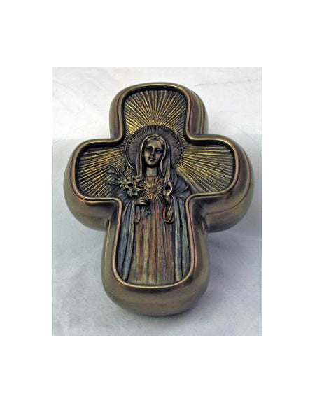 Immaculate Heart Mary Boxlightly Painted Bronze Finish 5X4-inch