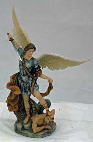 Saint Michael Hand-Painted In Full Color With Brown 10-inch