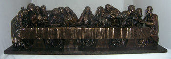 Last Supper- Hand-Painted Cold Cast Bronze 29X7X8-inch