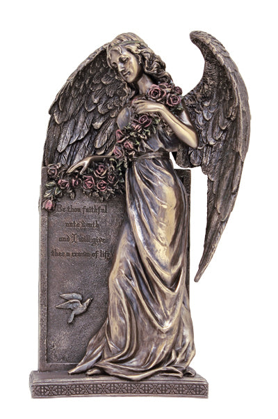 Sorrowful Standing Angelhand-Painted Cold Cast Bronze 10.5-inch