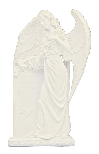 Sorrowful Standing Angel White Finish 10.5-inch