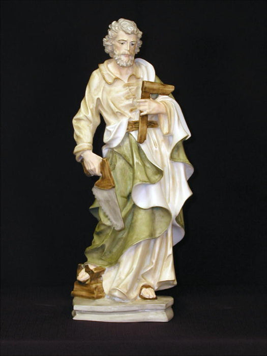 Saint Joseph The Worker In Hand-Painted Alabaster 13.5-inch