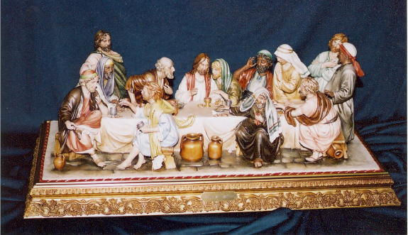 Capodimonte Last Supper By Luciano Cazzola Hand-Painted Porcelain 30X12X15-inch