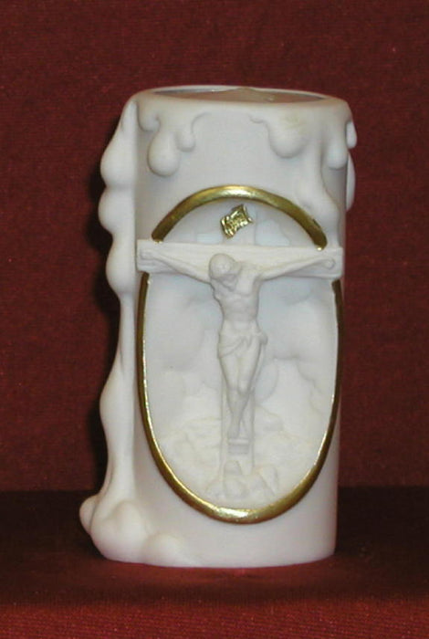 Crucifixion Votive Candle White Alabaster 4-inch
