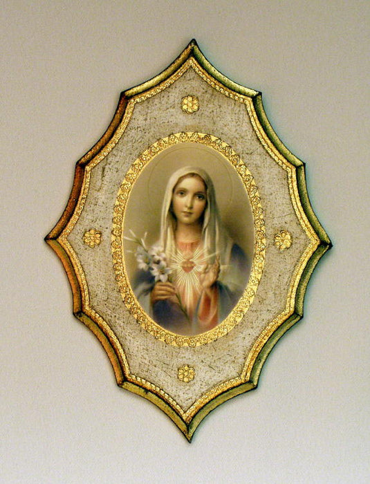 Immaculate Heart Of Mary Florentine Plaque 7.5X10.5-inch