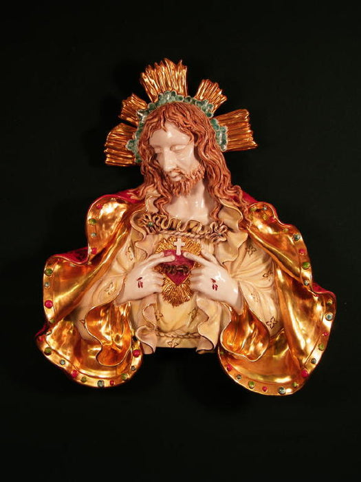 Sacred Heart Of Jesus Bust Wall Plaque Hand-Painted Ceramic 19-inch