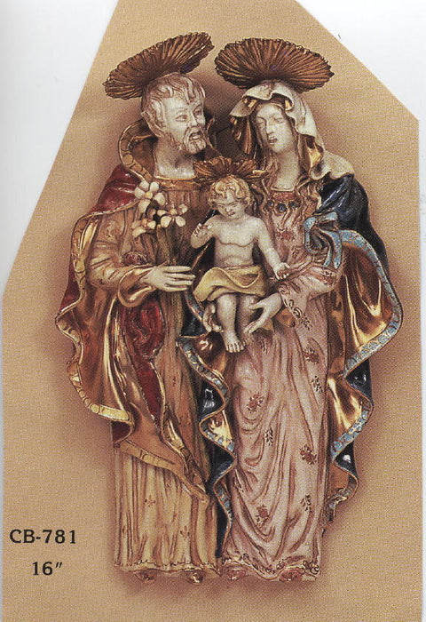 Holy Family Wall Plaque Hand-Painted Ceramic 16-inch