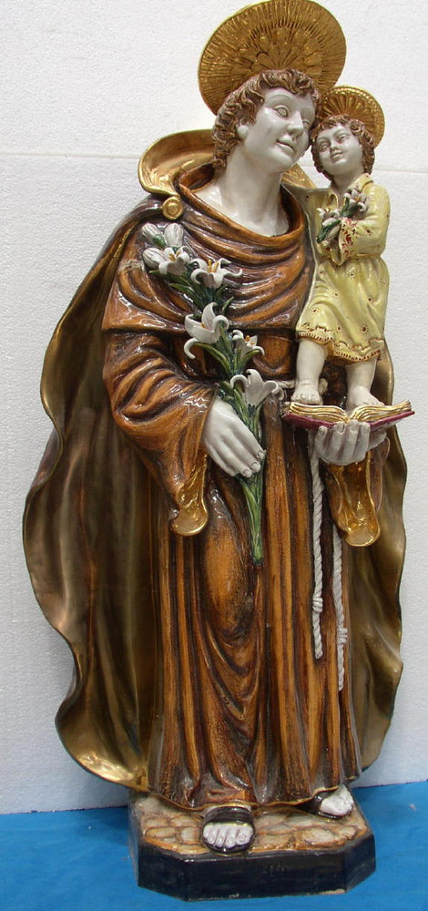 Saint Anthony And Child Hand-Painted Ceramic 45-inch