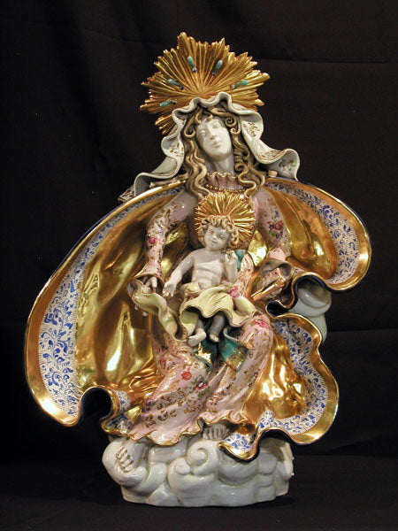 Seated Madonna And Child Hand-Painted Ceramic 17.5X24-inch
