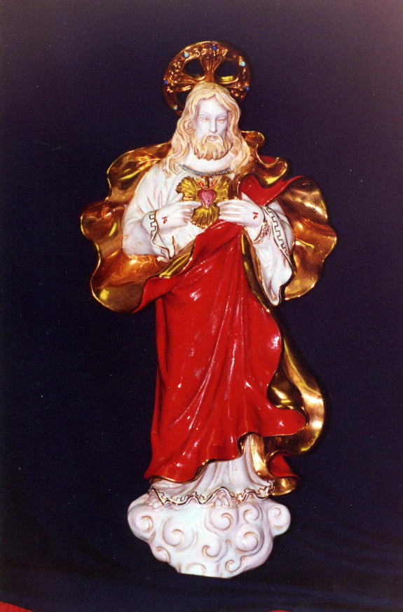 Sacred Heart Of Jesus Wall Plaque Hand-Painted Ceramic 21-inch