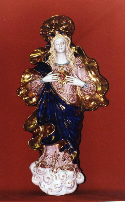 Immaculate Heart Of Mary Wall Plaque Hand-Painted Ceramic 21-inch