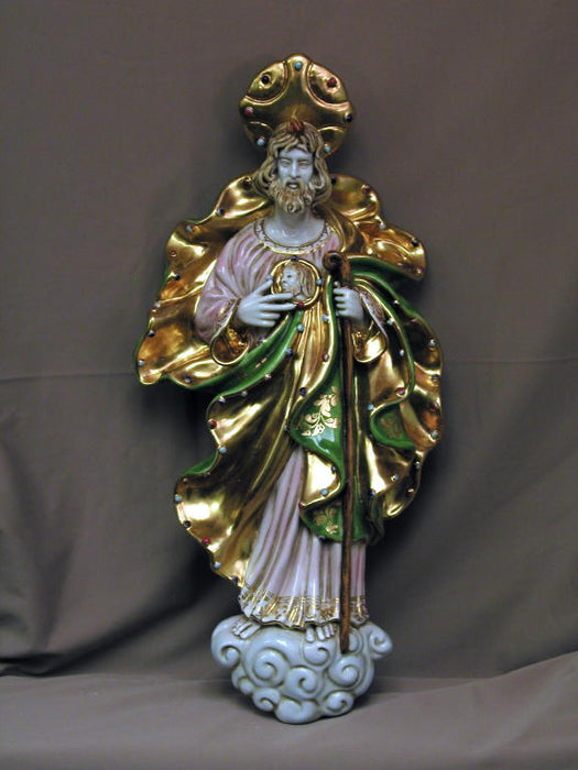 Saint Jude Wall Plaque Hand-Painted Ceramic 21-inch