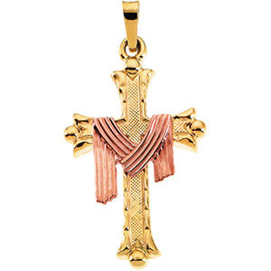 14K Yellow Gold Cross Pendant with Robe 14Ky/Rose