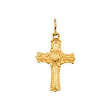 14K Gold Child's Cross Pendant with Heart