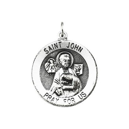 Sterling Silver Round Saint John Pendant Necklace Set