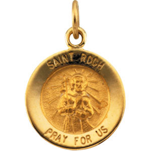14K Yellow Gold Saint Roch Pendant