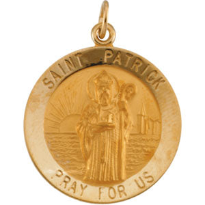 14K Yellow Gold Saint Patrick Pendant