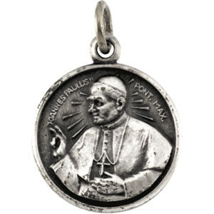 Sterling Silver Round Pope John Paul Pendant Necklace Set