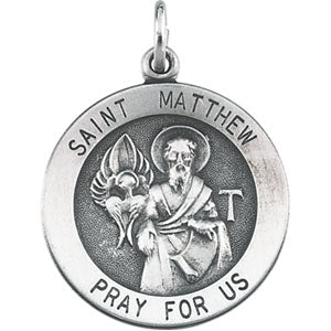 Sterling Silver Saint Matthew Pendant Necklace Set