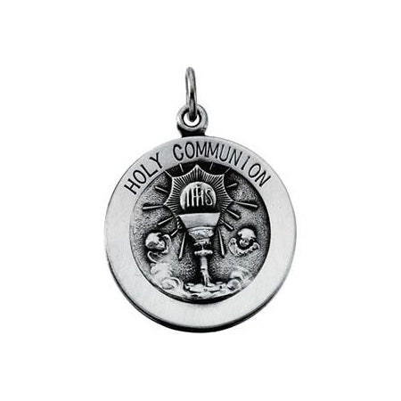 Sterling Silver Round Holy Communion Pendant Necklace Set