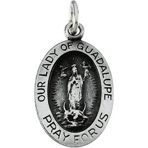 Sterling Silver Oval Lady Of Guadalupe Pendant Necklace Set