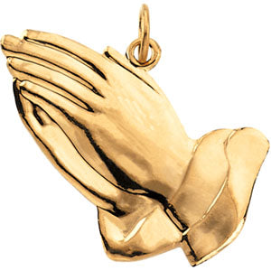 14K Yellow Gold Praying Hands Pendant