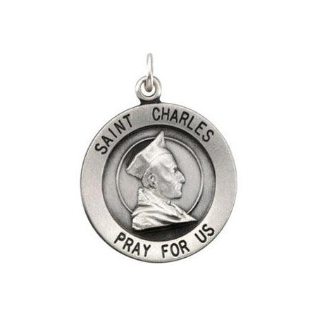 Sterling Silver Round Saint Charles Pendant Necklace Set
