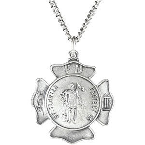 Sterling Silver Saint Florian Pendant Necklace Set