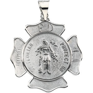 14K White Gold Saint Florian Pendant Shield