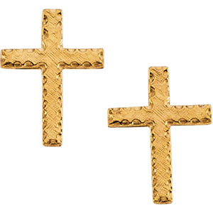 14K Yellow Gold Cross Earring