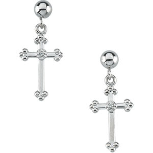 White Gold Cross And Ball Dangle Earring With Back