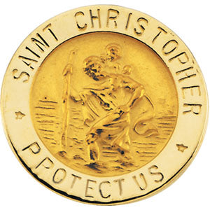 14K Gold Saint Christopher Lapel Pin