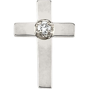 White Gold Cross Lapel Pin with Diamond