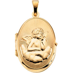14K Yellow Gold Oval Shaped Locket with Angel