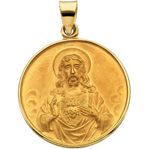 18K Yellow Sacred Heart Pendant