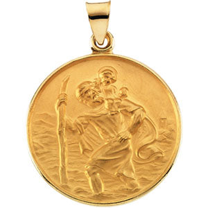 18K Yellow Saint Christopher Pendant