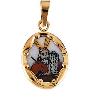 14K Yellow Gold Ceramic Moses Pendant