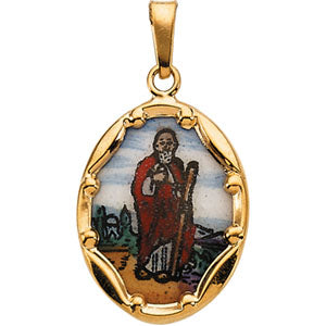 14K Yellow Gold Porcelain Saint Jude Pendant