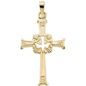14K Yellow Gold Cross with Holy Spirit Pendant