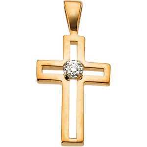 14K Gold Cross Pendant with Diamond