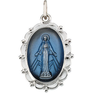 Sterling Silver Miraculous Medal Necklace Set