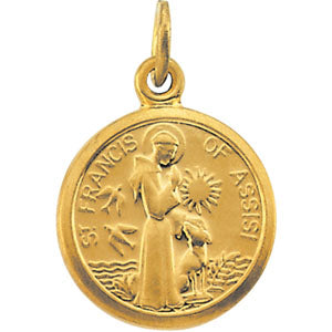 14K Yellow Gold Saint Francis Of Assisi Charm
