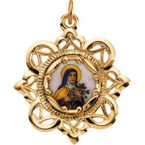 10K Yellow Saint Theresa Framed Enamel Pendant