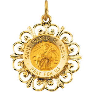14K Yellow Gold Round Saint Francis Of Assisi Pendant