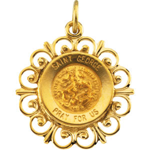 14K Yellow Gold Round Saint George Pendant