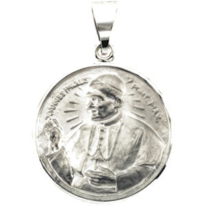 14K White Gold Hollow Pope John Paul Pendant