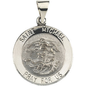 14K Yellow Gold Round Hollow Saint Michael Pendant