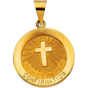 14K Yellow Gold Hollow Confirmation Pendant